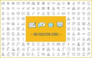 iconos lineales de educación vector