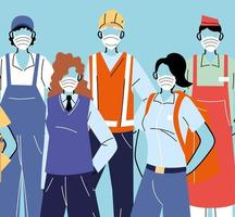 Various occupations with people wearing face masks vector