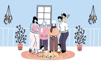 los miembros de la familia se quedan en casa por la pandemia de coronavirus vector