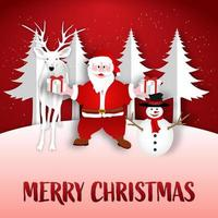 arte de papel santa sosteniendo un regalo con renos y muñeco de nieve