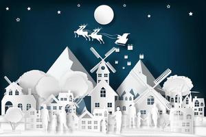 Paper art Santa on sleigh over the city vector