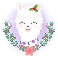 Llama with wreath for Christmas watercolor style design vector