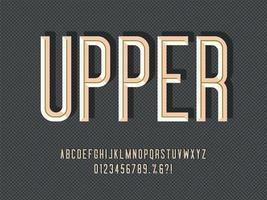 Inline Condensed Beveled Display Typeface vector