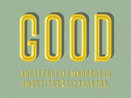 Condensed Beveled 3D Display Typeface vector