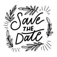 Save The Date Lettering With Floral Ornaments