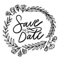 Cute Save The Date Lettering With Floral Ornaments