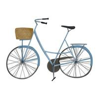 Watercolor style bicycle with basket vector