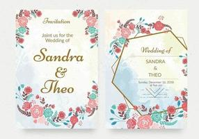 Geometric Floral Watercolor Invitations