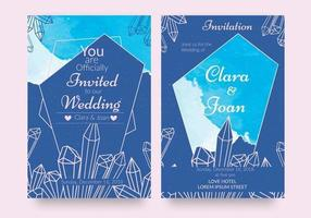 Blue Geometric Crystal Watercolor Invitations