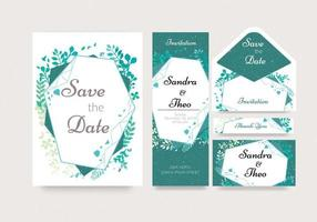 Geometric Floral Watercolor Invitation Set