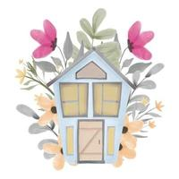 Watercolor hand painted floral house design vector