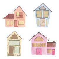 Set of watercolor homes vector
