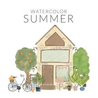 Watercolor summer scenery with home and garden vector