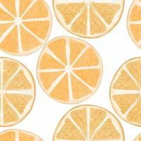 Watercolor citrus orange slice seamless pattern