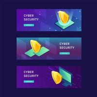 ciberseguridad para banner web de gadget vector
