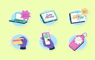 Cyber Monday Neon Sticker Pack vector