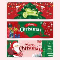 Christmas Banner with Red and Green Color vector