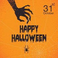 cartel de halloween grunge con mano sosteniendo tela de araña