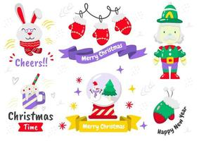 conjunto de elementos de navidad de estilo de dibujos animados