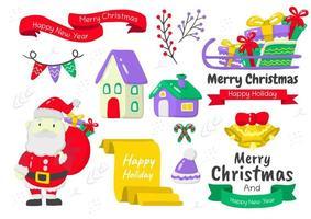 Cartoon style Christmas element set vector