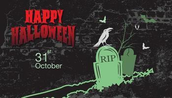 Halloween grunge design with bird in cemetery