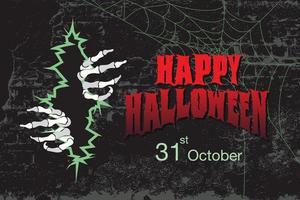 Halloween grunge design with skeleton hands ripping through vector