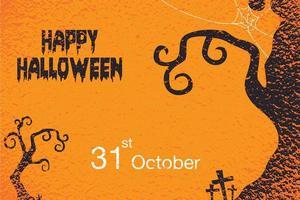 Happy Halloween Grunge Spooky Tree Poster