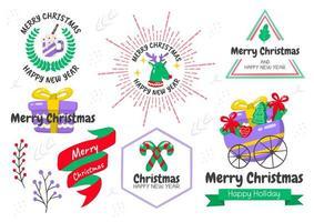 Cartoon style Christmas emblem set