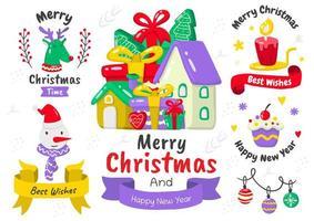 Cartoon style Christmas element and emblem set