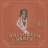 cartel de fiesta de halloween con mano esqueleto sosteniendo micrófono vector