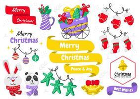 Cartoon style Christmas element set