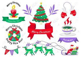 conjunto de elementos de navidad de estilo de dibujos animados vector