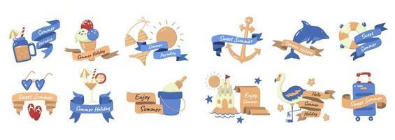 conjunto de elementos y frase de verano de estilo de dibujos animados