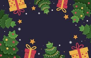 Flat Christmas Tree And Gift Background vector