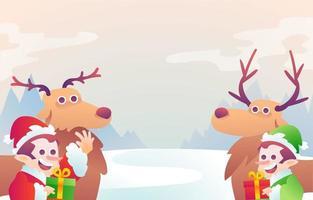 Deer and Dwarf Help Santa Background