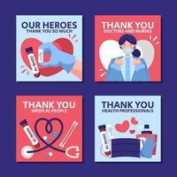 colección de tarjetas agradeciendo al oficial médico vector