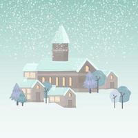 Winter Village Hand Drawn Illustration vector