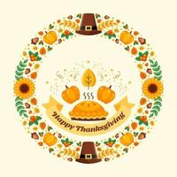 feliz día de acción de gracias celebración corona vector