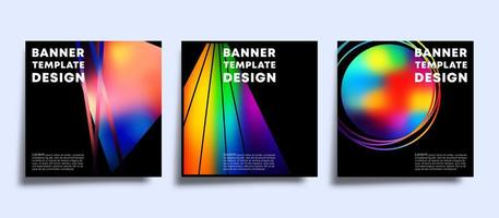 Banner template set with colorful gradient shapes.