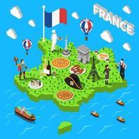 France isometric tourist composition