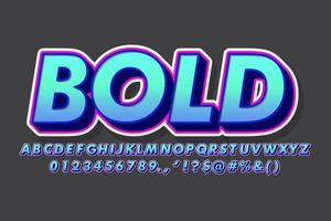 Modern blue gradient and pink outline alphabet style vector