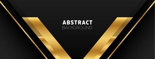 Black banner with golden V shapes vector