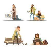 Cartoon homeless people set