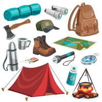 Cartoon camping and scouting set vector