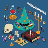Isometric magical and esoteric composition vector