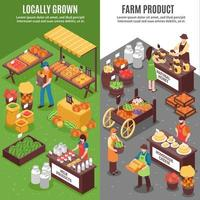 Isometric farmers market vertical banner set vector