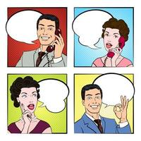 Set of people talking in a comic strip vector