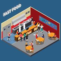 interior isométrico de comida rápida vector