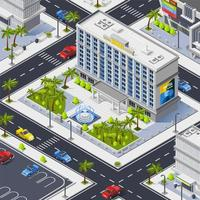 Isometric luxury hotel building composition vector