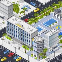 Isometric cityscape composition vector